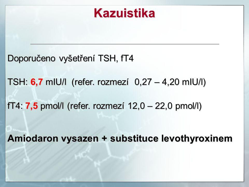 Doporučeno vyšetření TSH, fT4 TSH: 6,7 mIU/l (refer. rozmezí 0,27 – 4,20 mIU/l) fT4: 7,5 pmol/l (refer. rozmezí 12,0 – 22,0 pmol/l) Amiodaron vysazen