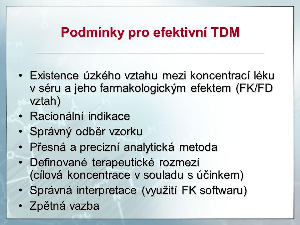 Podmínky pro efektivní TDM Existence úzkého vztahu mezi koncentrací léku v séru a jeho farmakologickým efektem (FK/FD vztah)Existence úzkého vztahu me