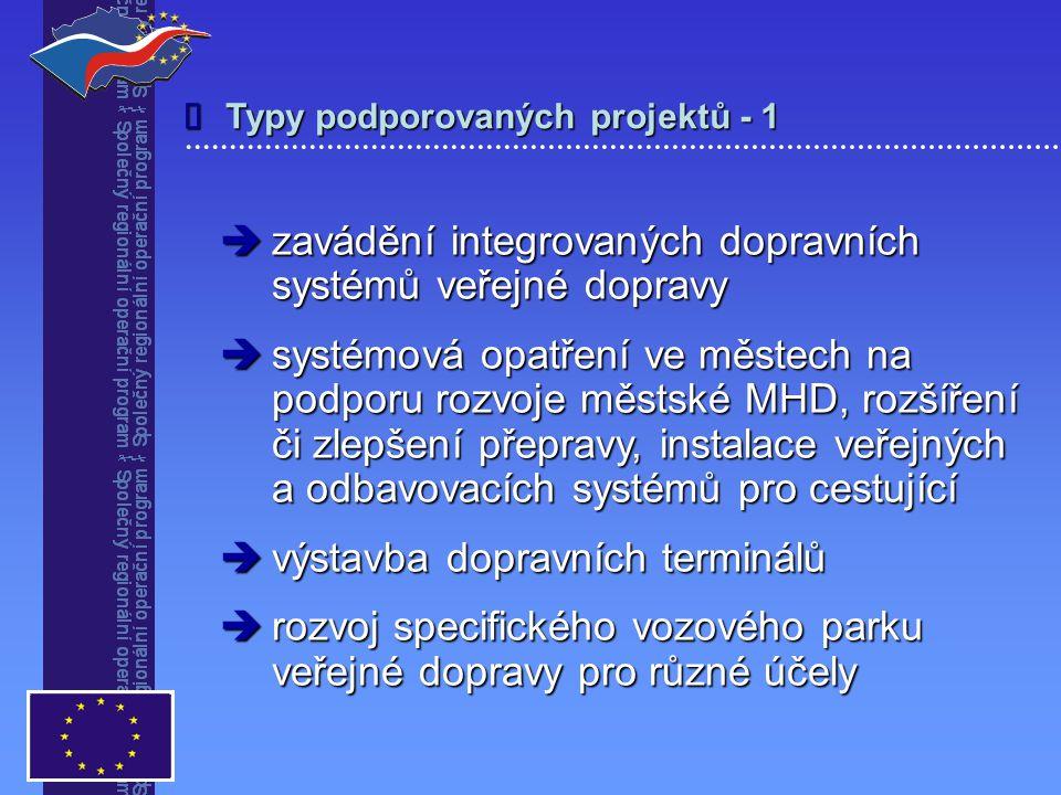 Typy podporovaných projektů - 1   zavádění integrovaných dopravních systémů veřejné dopravy  systémová opatření ve městech na podporu rozvoje městské MHD, rozšíření či zlepšení přepravy, instalace veřejných a odbavovacích systémů pro cestující  výstavba dopravních terminálů  rozvoj specifického vozového parku veřejné dopravy pro různé účely