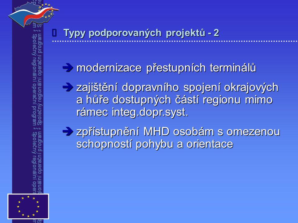 Typy podporovaných projektů - 2   modernizace přestupních terminálů  zajištění dopravního spojení okrajových a hůře dostupných částí regionu mimo rámec integ.dopr.syst.