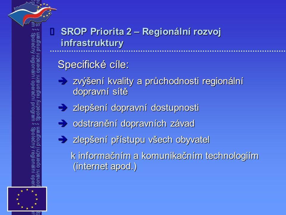 SROP Priorita 2 – Regionální rozvoj infrastruktury Specifické cíle:  zvýšení kvality a průchodnosti regionální dopravní sítě  zlepšení dopravní dostupnosti  odstranění dopravních závad  zlepšení přístupu všech obyvatel k informačním a komunikačním technologiím (internet apod.) k informačním a komunikačním technologiím (internet apod.)