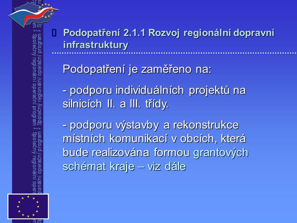 Podopatření 2.1.1 Rozvoj regionální dopravní infrastruktury Podopatření je zaměřeno na: - podporu individuálních projektů na silnicích II.