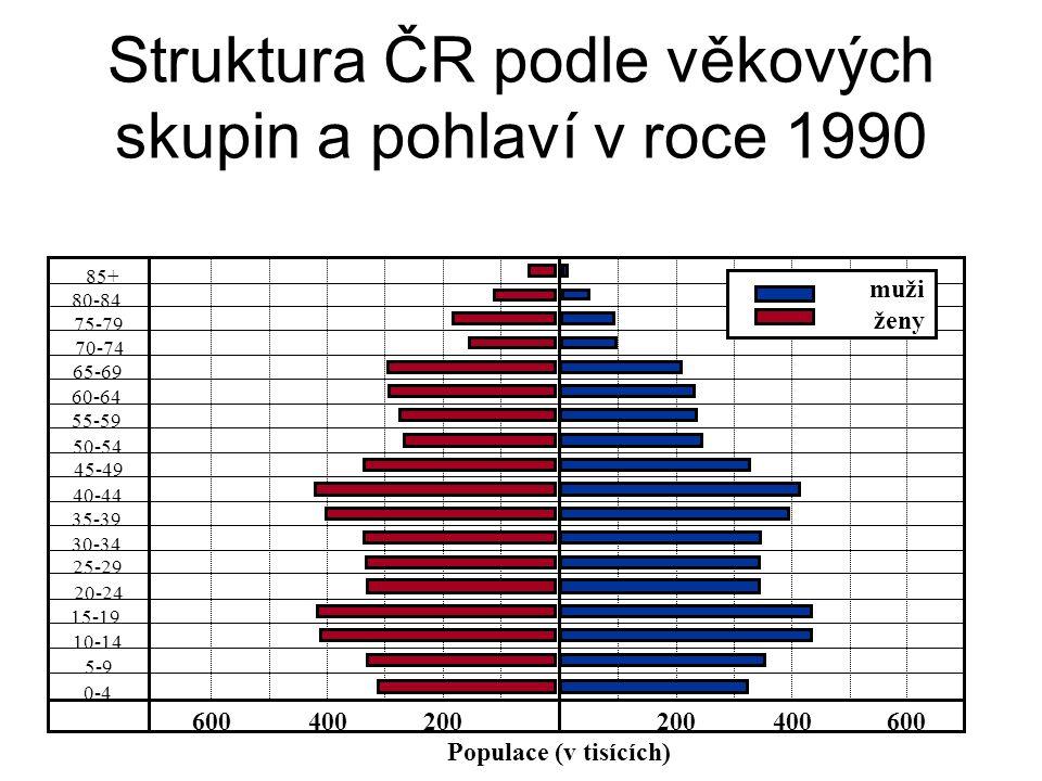 Struktura ČR podle věkových skupin a pohlaví v roce 1990 85+ 80-84 75-79 70-74 65-69 55-59 50-54 45-49 40-44 35-39 30-34 25-29 20-24 15-19 10-14 5-9 0-4 200400600200400600 Populace (v tisících) 60-64 muži ženy
