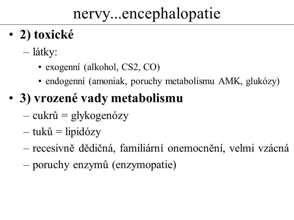 nervy...encephalopatie 2) toxické –látky: exogenní (alkohol, CS2, CO) endogenní (amoniak, poruchy metabolismu AMK, glukózy) 3) vrozené vady metabolism