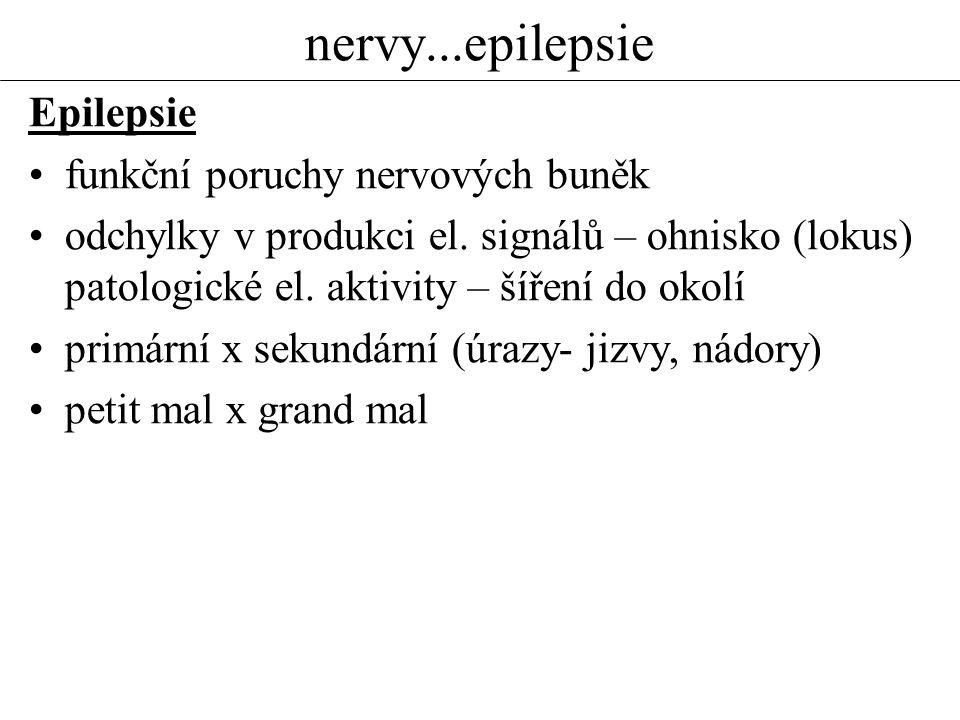 nervy...epilepsie Epilepsie funkční poruchy nervových buněk odchylky v produkci el. signálů – ohnisko (lokus) patologické el. aktivity – šíření do oko