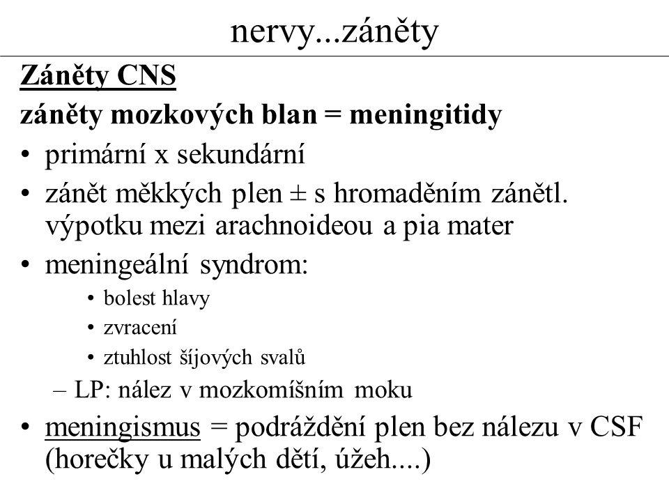 nervy...záněty Záněty CNS záněty mozkových blan = meningitidy primární x sekundární zánět měkkých plen ± s hromaděním zánětl. výpotku mezi arachnoideo