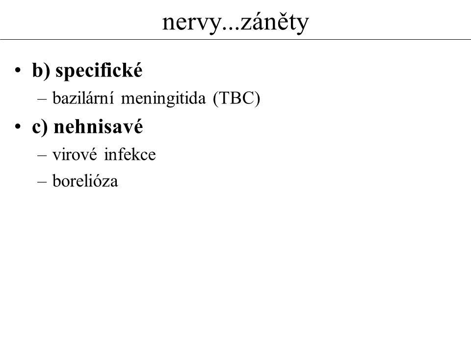 nervy...záněty b) specifické –bazilární meningitida (TBC) c) nehnisavé –virové infekce –borelióza