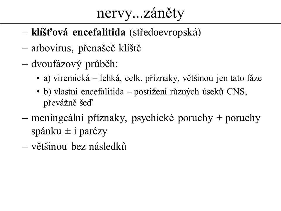 nervy...záněty –klíšťová encefalitida (středoevropská) –arbovirus, přenašeč klíště –dvoufázový průběh: a) viremická – lehká, celk. příznaky, většinou