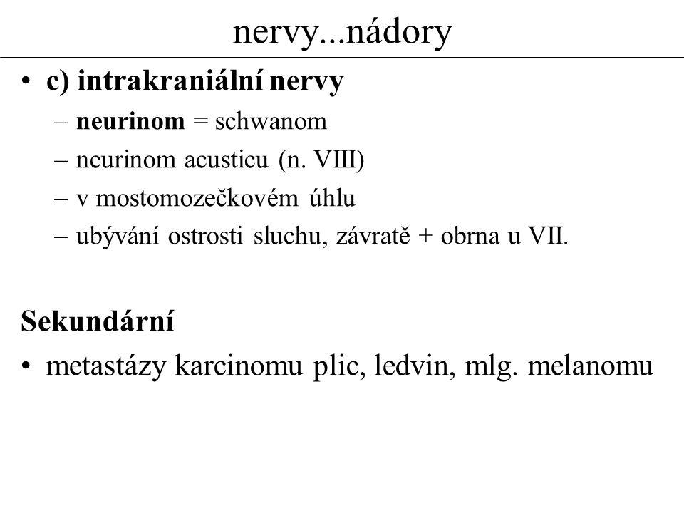 nervy...nádory c) intrakraniální nervy –neurinom = schwanom –neurinom acusticu (n. VIII) –v mostomozečkovém úhlu –ubývání ostrosti sluchu, závratě + o
