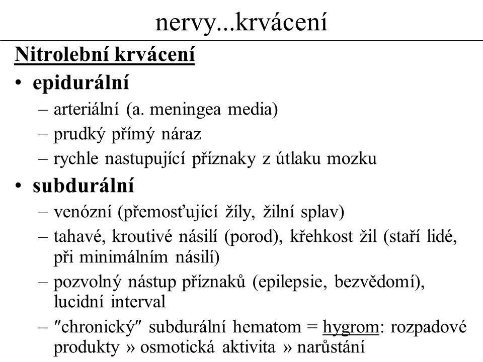 nervy...krvácení Nitrolební krvácení epidurální –arteriální (a. meningea media) –prudký přímý náraz –rychle nastupující příznaky z útlaku mozku subdur