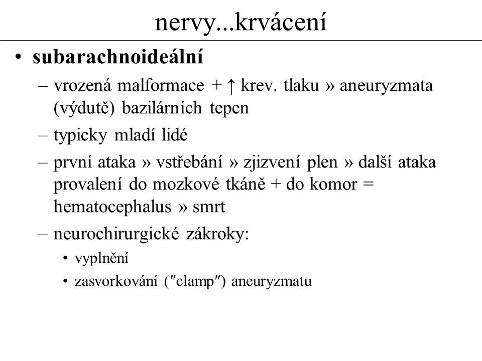 nervy...vaskulární poruchy Vaskulární onemocnění CNS CMP = (náhlá) cévní mozková příhoda, ictus cerebri (mozková mrtvice) příčiny: –1) ischemie: náhlá (embolie) pozvolná (ateroskleróza + trombóza) a)dočasná TIA = tranzitorní ischemická ataka funkční poruchy, dočasné