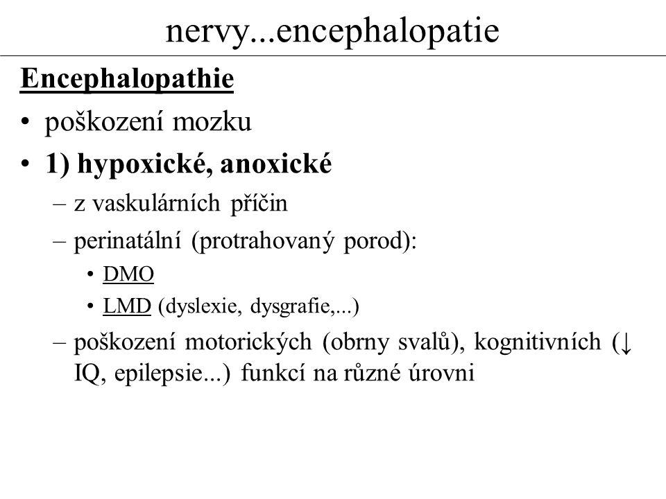 nervy...encephalopatie Encephalopathie poškození mozku 1) hypoxické, anoxické –z vaskulárních příčin –perinatální (protrahovaný porod): DMO LMD (dysle