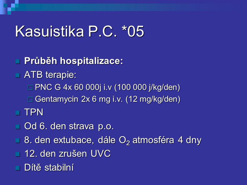 Kasuistika P.C. *05 Průběh hospitalizace: Průběh hospitalizace: ATB terapie: ATB terapie:  PNC G 4x 60 000j i.v (100 000 j/kg/den)  Gentamycin 2x 6