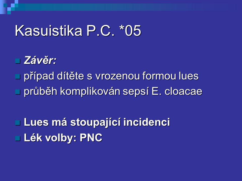 Kasuistika P.C. *05 Závěr: Závěr: případ dítěte s vrozenou formou lues případ dítěte s vrozenou formou lues průběh komplikován sepsí E. cloacae průběh