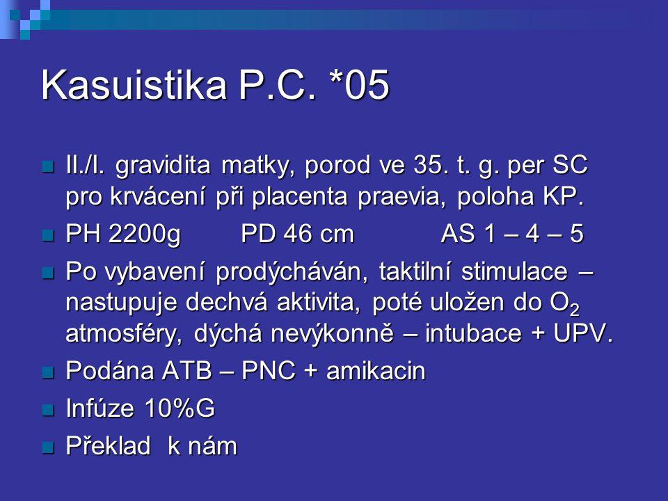Kasuistika P.C. *05 II./I. gravidita matky, porod ve 35. t. g. per SC pro krvácení při placenta praevia, poloha KP. II./I. gravidita matky, porod ve 3