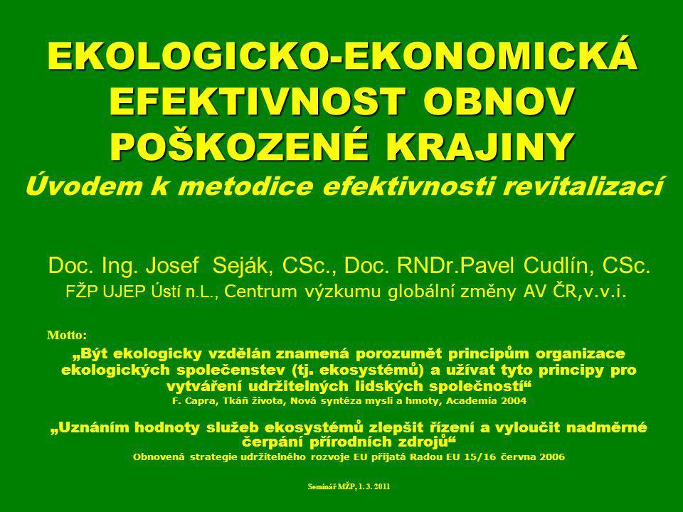 Náhradní biotop Zjednodušený biotop Biotop přírodě blízký ROZDĚLENÍ EKOSYSTÉMŮ REVITALIZAČNÍ MOŽNOSTI HODNOCENÍ VARIANT VÝSLEDKY A VÝBĚR CÍLOVÉHO BIOTOPU