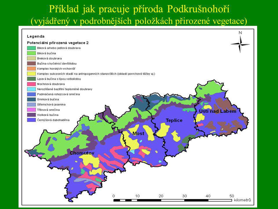 Klimaxový pokryv území Podkrušnohoří (vyjádřený v agregovaných položkách CLC)