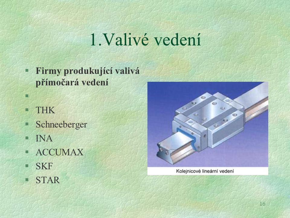 16 1.Valivé vedení §Firmy produkující valivá přímočará vedení § §THK §Schneeberger §INA §ACCUMAX §SKF §STAR