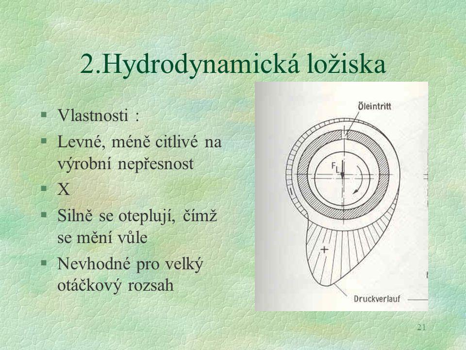 21 2.Hydrodynamická ložiska §Vlastnosti : §Levné, méně citlivé na výrobní nepřesnost §X §Silně se oteplují, čímž se mění vůle §Nevhodné pro velký otáč