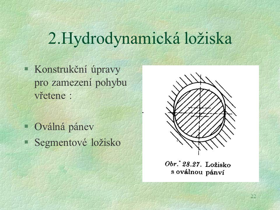 22 2.Hydrodynamická ložiska §Konstrukční úpravy pro zamezení pohybu vřetene : §Oválná pánev §Segmentové ložisko