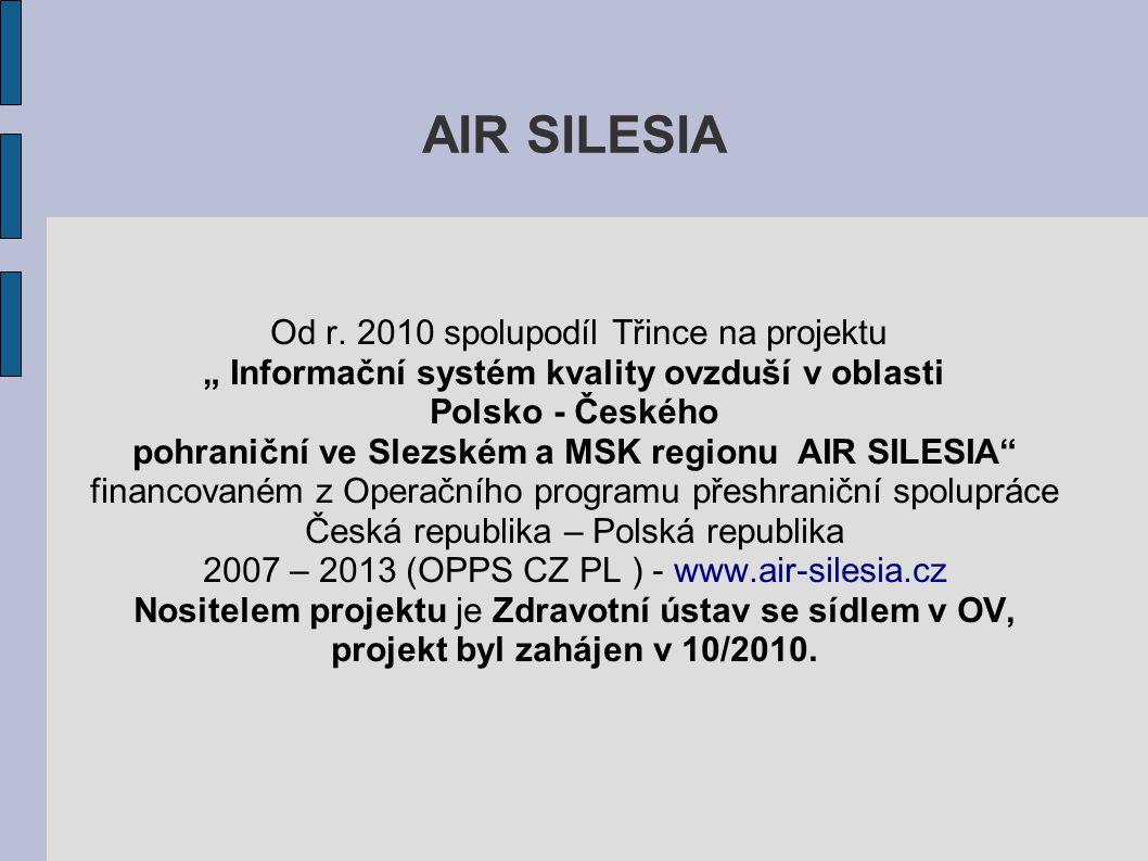 """AIR SILESIA Od r. 2010 spolupodíl Třince na projektu """" Informační systém kvality ovzduší v oblasti Polsko - Českého pohraniční ve Slezském a MSK regio"""