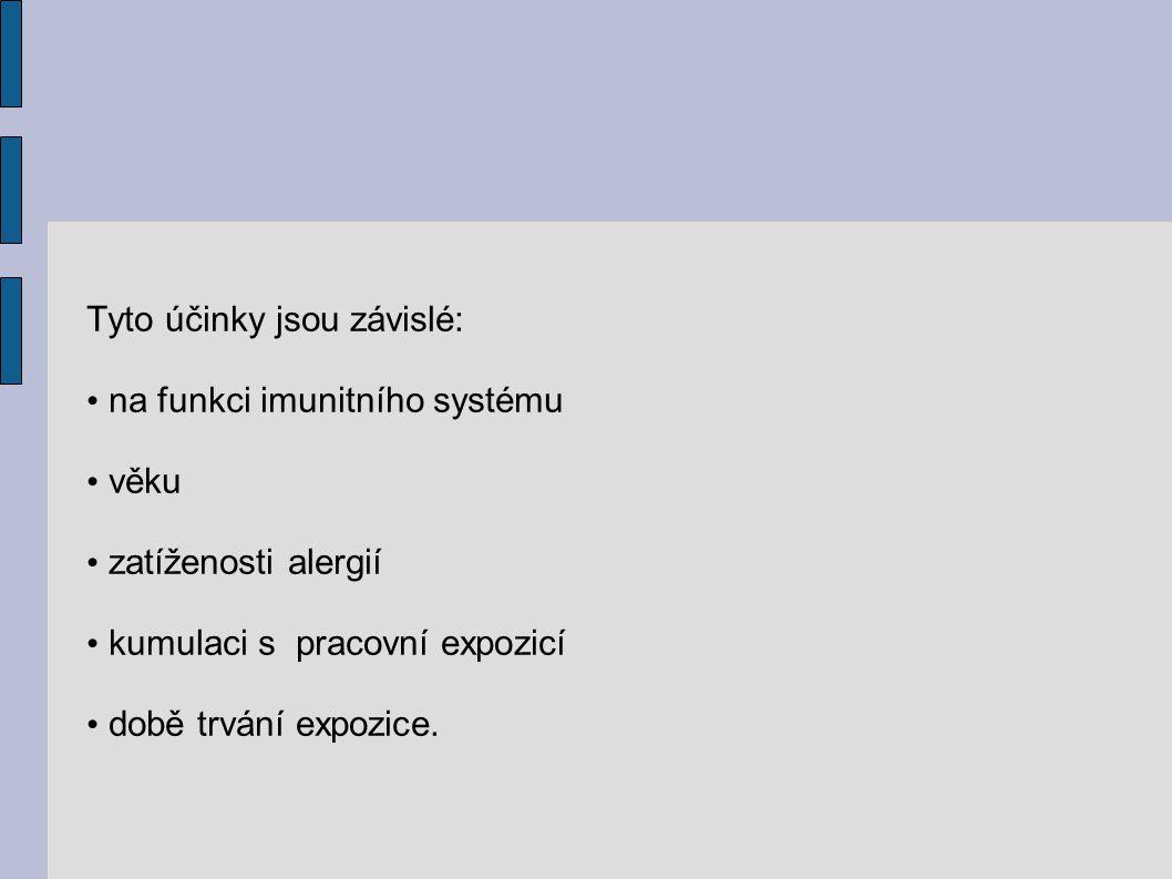 Tyto účinky jsou závislé: na funkci imunitního systému věku zatíženosti alergií kumulaci s pracovní expozicí době trvání expozice.
