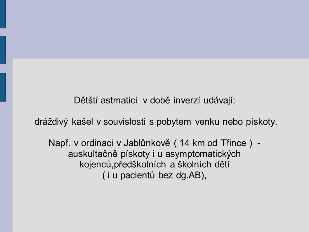 Dětští astmatici v době inverzí udávají: dráždivý kašel v souvislosti s pobytem venku nebo pískoty. Např. v ordinaci v Jablůnkově ( 14 km od Třince )