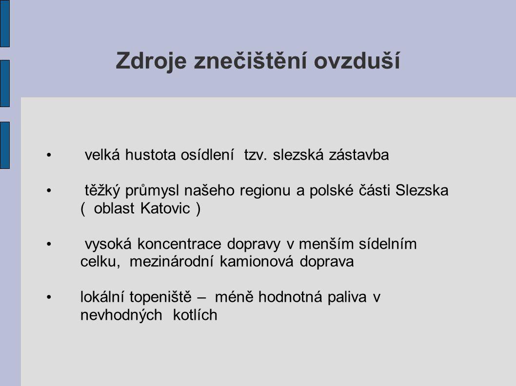 Zdroje znečištění ovzduší velká hustota osídlení tzv. slezská zástavba těžký průmysl našeho regionu a polské části Slezska ( oblast Katovic ) vysoká k