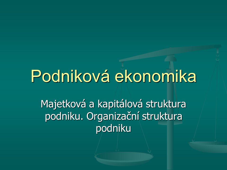 Podniková ekonomika Majetková a kapitálová struktura podniku. Organizační struktura podniku