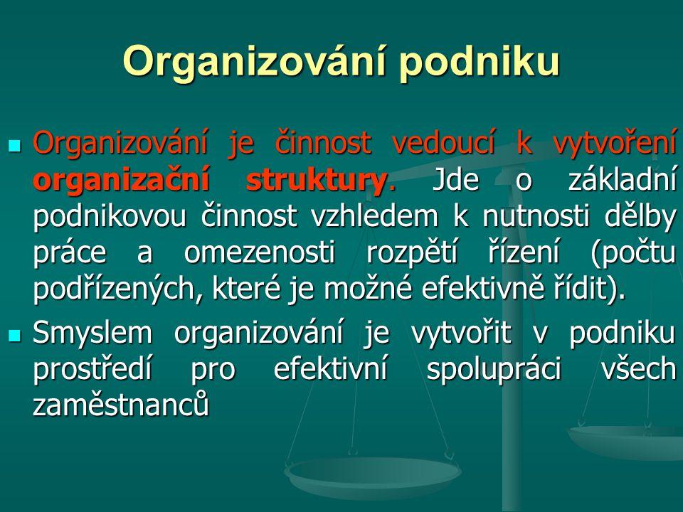 Organizování podniku Organizování je činnost vedoucí k vytvoření organizační struktury. Jde o základní podnikovou činnost vzhledem k nutnosti dělby pr