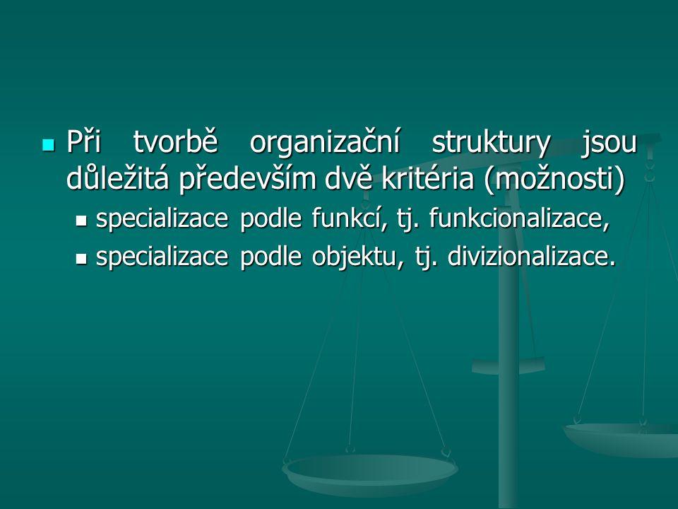 Při tvorbě organizační struktury jsou důležitá především dvě kritéria (možnosti) Při tvorbě organizační struktury jsou důležitá především dvě kritéria