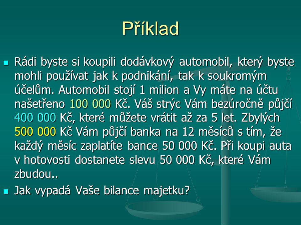 Automobil 950 000 Kč Peníze 50 000 Kč Vlastní kapitál 100 000 Kč Úvěr od strýce 400 000 Kč Bankovní úvěr 500 000 Kč Jaký mám majetek.