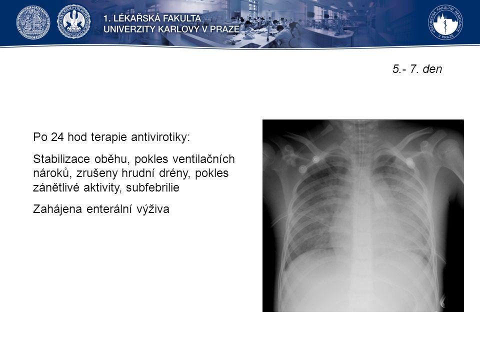 5.- 7. den Po 24 hod terapie antivirotiky: Stabilizace oběhu, pokles ventilačních nároků, zrušeny hrudní drény, pokles zánětlivé aktivity, subfebrilie