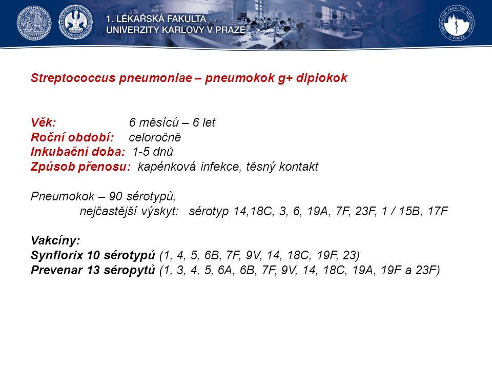 Streptococcus pneumoniae – pneumokok g+ diplokok Věk: 6 měsíců – 6 let Roční období: celoročně Inkubační doba: 1-5 dnů Způsob přenosu: kapénková infekce, těsný kontakt Pneumokok – 90 sérotypů, nejčastější výskyt: sérotyp 14,18C, 3, 6, 19A, 7F, 23F, 1 / 15B, 17F Vakcíny: Synflorix 10 sérotypů (1, 4, 5, 6B, 7F, 9V, 14, 18C, 19F, 23) Prevenar 13 séropytů (1, 3, 4, 5, 6A, 6B, 7F, 9V, 14, 18C, 19A, 19F a 23F)