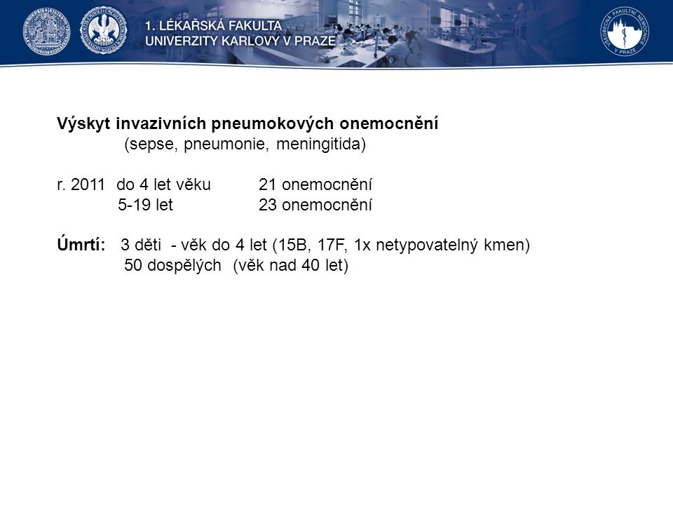 Výskyt invazivních pneumokových onemocnění (sepse, pneumonie, meningitida) r.