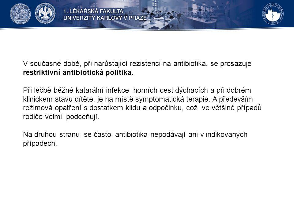V současné době, při narůstající rezistenci na antibiotika, se prosazuje restriktivní antibiotická politika. Při léčbě běžné katarální infekce horních
