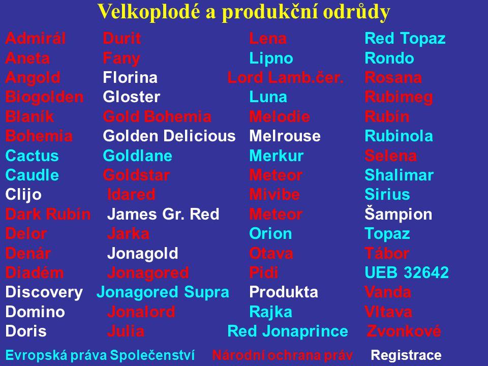 Velkoplodé a produkční odrůdy Admirál Durit Lena Red Topaz AnetaFany Lipno Rondo AngoldFlorina Lord Lamb.čer. Rosana Biogolden Gloster Luna Rubimeg Bl