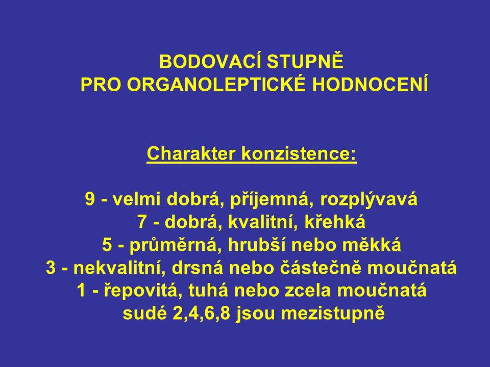 BODOVACÍ STUPNĚ PRO ORGANOLEPTICKÉ HODNOCENÍ Charakter konzistence: 9 - velmi dobrá, příjemná, rozplývavá 7 - dobrá, kvalitní, křehká 5 - průměrná, hr