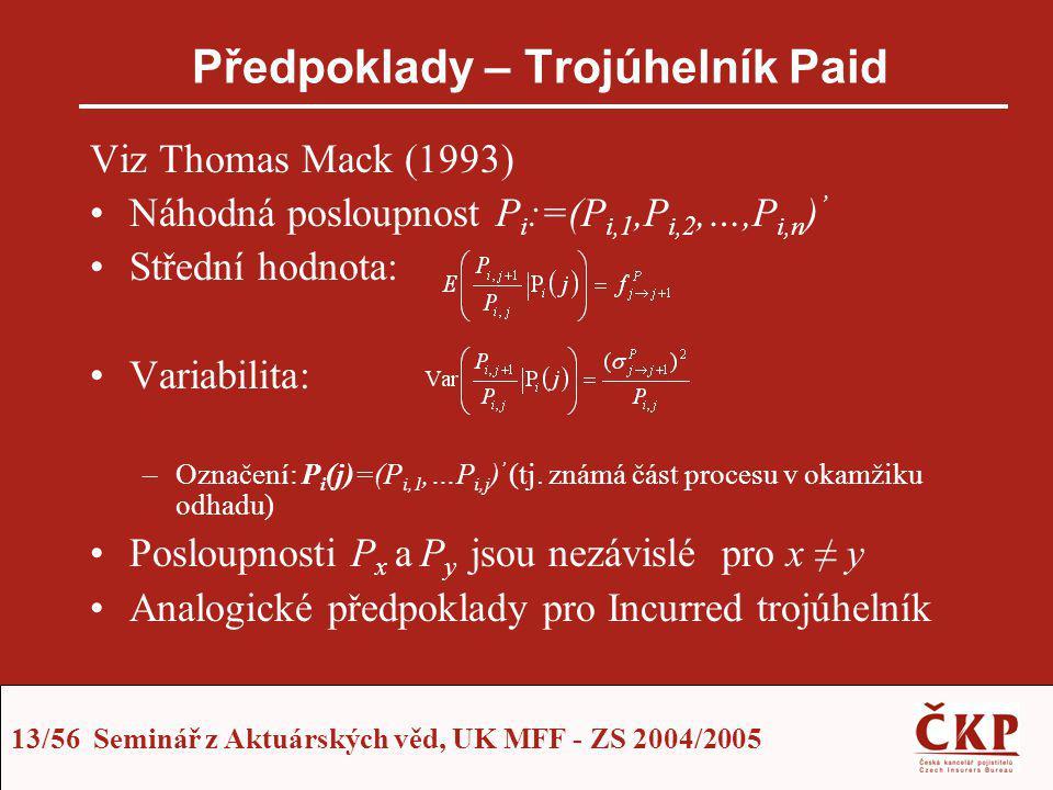 13/56 Seminář z Aktuárských věd, UK MFF - ZS 2004/2005 Předpoklady – Trojúhelník Paid Viz Thomas Mack (1993) Náhodná posloupnost P i :=(P i,1,P i,2,…,