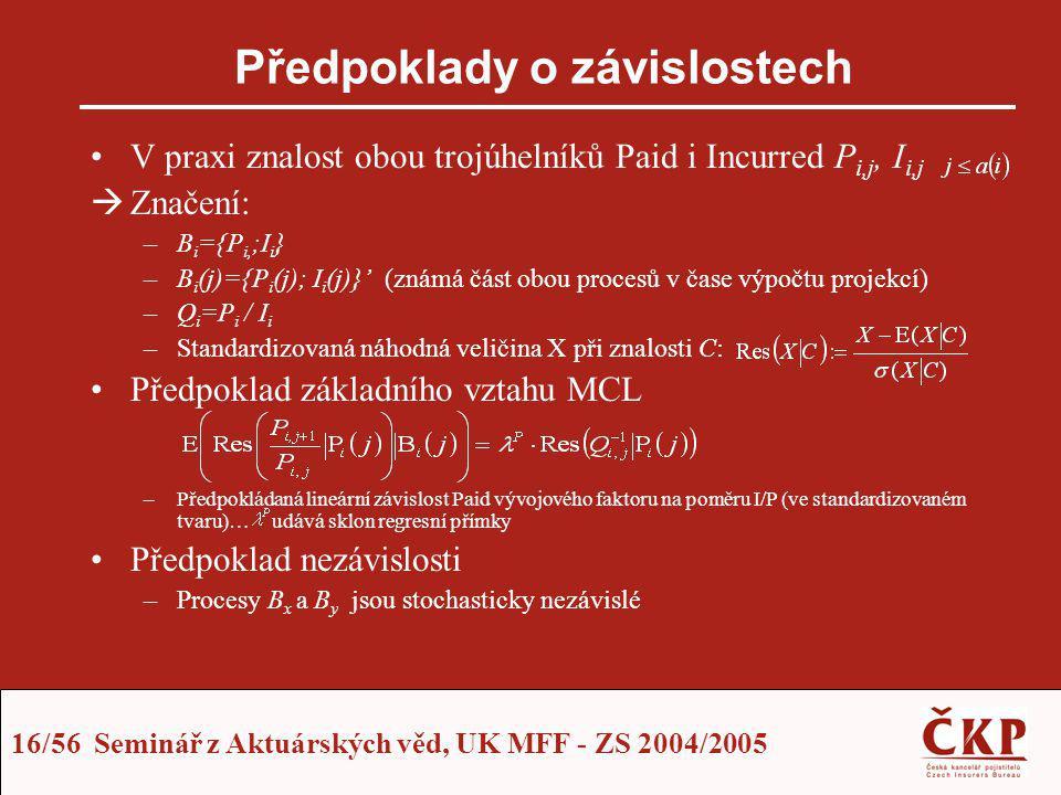 16/56 Seminář z Aktuárských věd, UK MFF - ZS 2004/2005 Předpoklady o závislostech V praxi znalost obou trojúhelníků Paid i Incurred P i,j, I i,j  Zna
