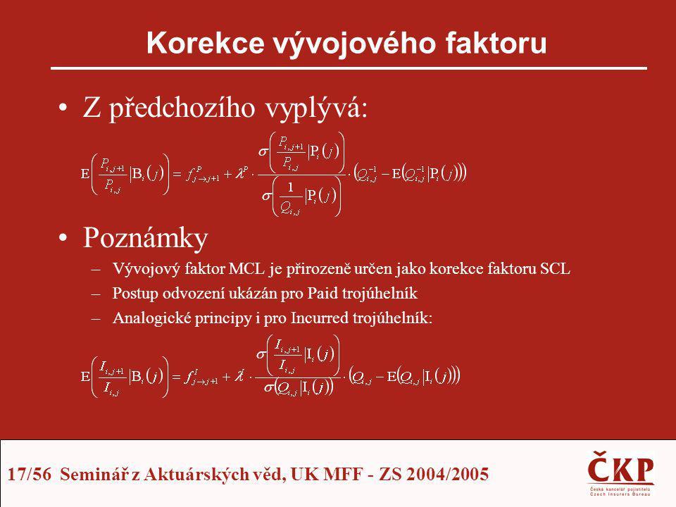 17/56 Seminář z Aktuárských věd, UK MFF - ZS 2004/2005 Korekce vývojového faktoru Z předchozího vyplývá: Poznámky –Vývojový faktor MCL je přirozeně ur
