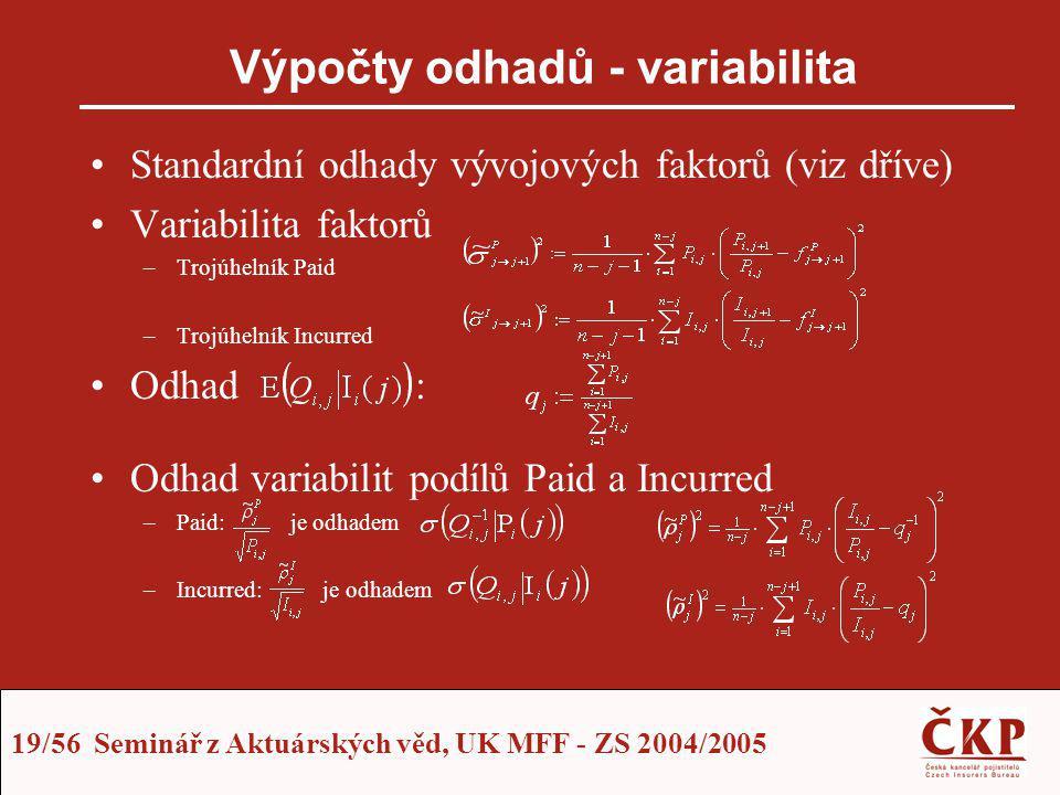 19/56 Seminář z Aktuárských věd, UK MFF - ZS 2004/2005 Výpočty odhadů - variabilita Standardní odhady vývojových faktorů (viz dříve) Variabilita fakto