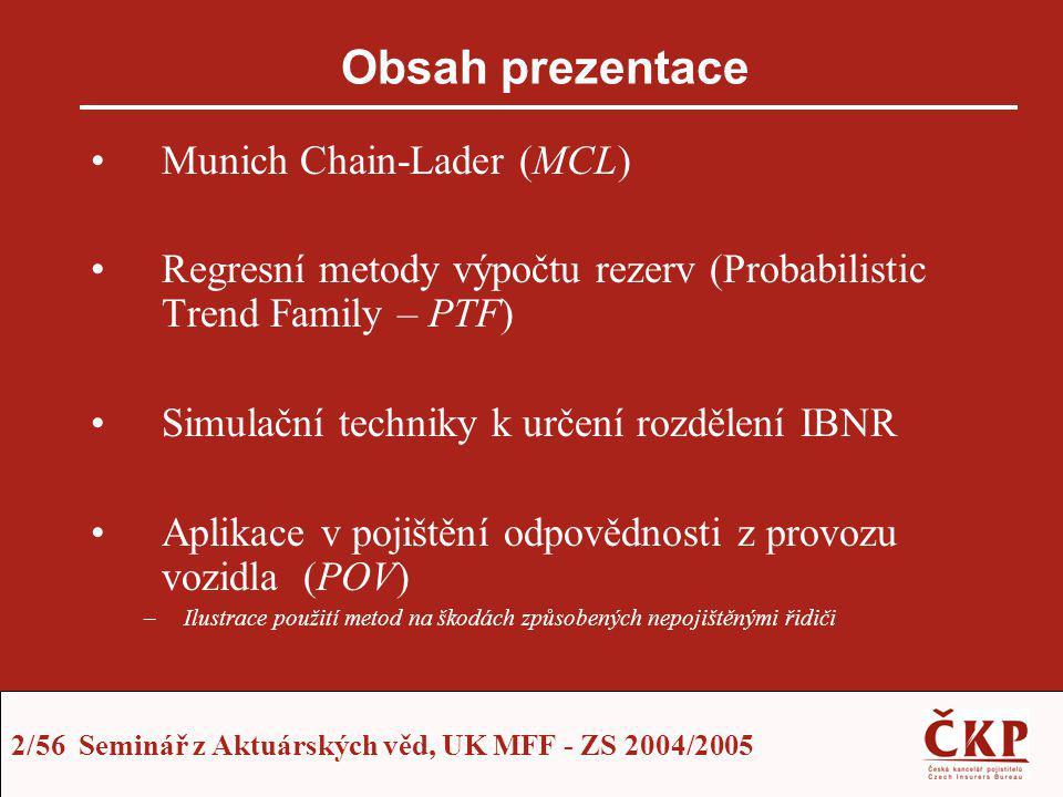 53/56 Seminář z Aktuárských věd, UK MFF - ZS 2004/2005 Numerické srovnání prezentovaných metod Předpovědi IBNR nepojištěných –Standard Chain Ladder (SCL) = 100% –Intervalové odhady PTF 1 nepoužitelné (Model vycházející z výše škod) –Model PTF 2 dává přijatelné výsledky intervalového odhadu (Přírůstkový model počtu pojistných událostí) –MCL kvůli nesplnění předpokladu závislosti IBNR nerealisticky podceňuje –Následuje grafické srovnání