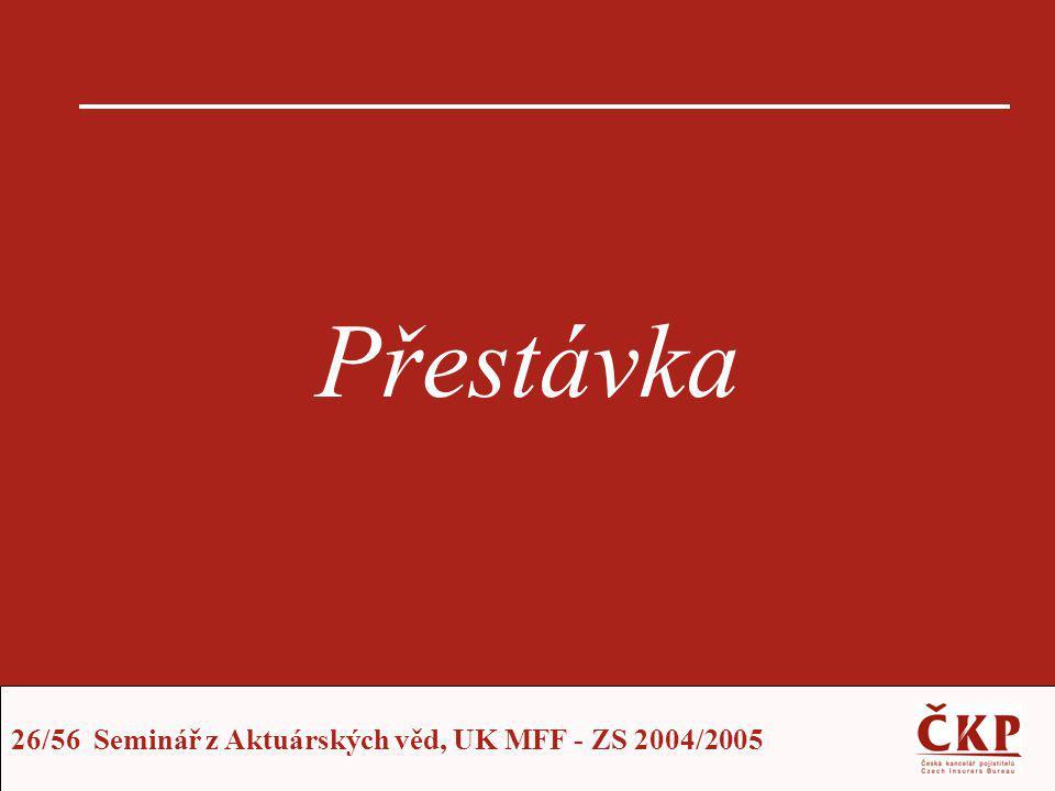 26/56 Seminář z Aktuárských věd, UK MFF - ZS 2004/2005 Přestávka