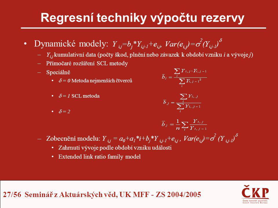 27/56 Seminář z Aktuárských věd, UK MFF - ZS 2004/2005 Regresní techniky výpočtu rezervy Dynamické modely: Y i,j =b j *Y i,j-1 +e i,j, Var(e i,j )= 