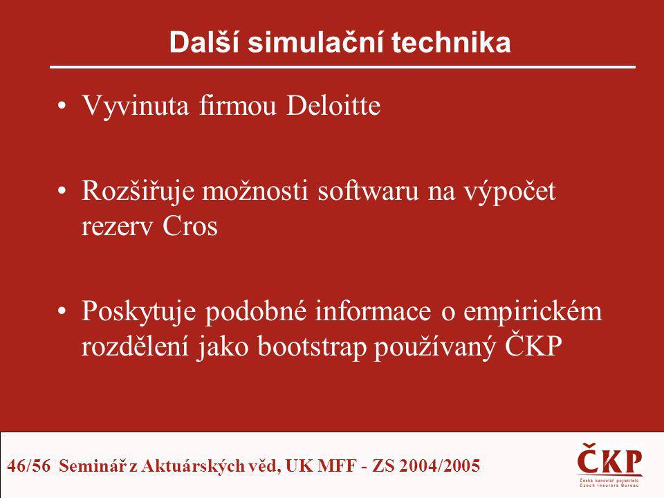 46/56 Seminář z Aktuárských věd, UK MFF - ZS 2004/2005 Další simulační technika Vyvinuta firmou Deloitte Rozšiřuje možnosti softwaru na výpočet rezerv