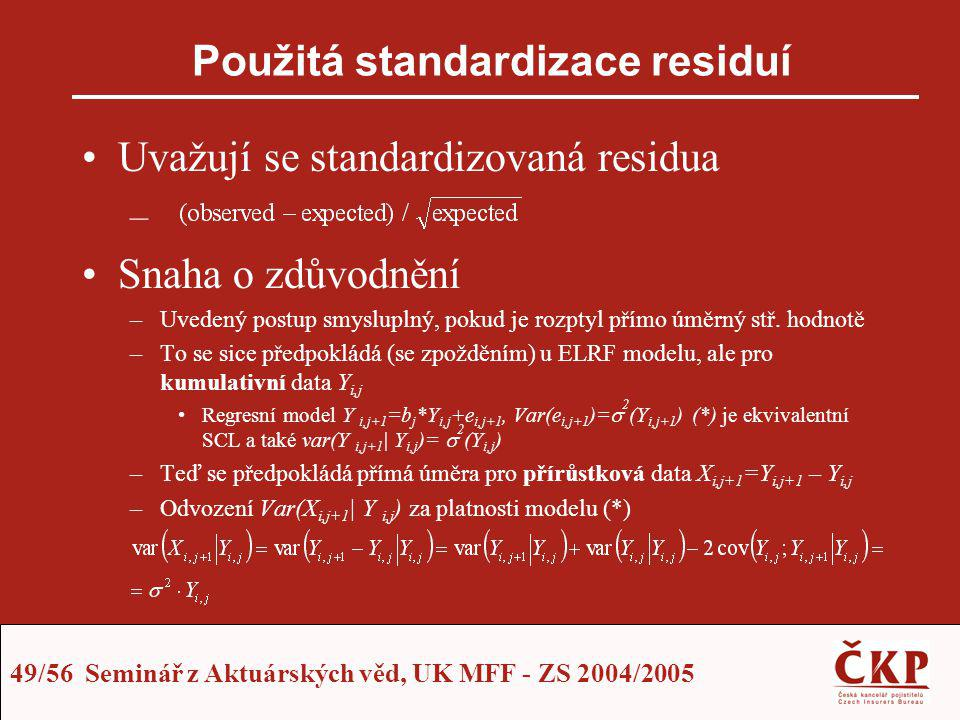 49/56 Seminář z Aktuárských věd, UK MFF - ZS 2004/2005 Použitá standardizace residuí Uvažují se standardizovaná residua – Snaha o zdůvodnění –Uvedený