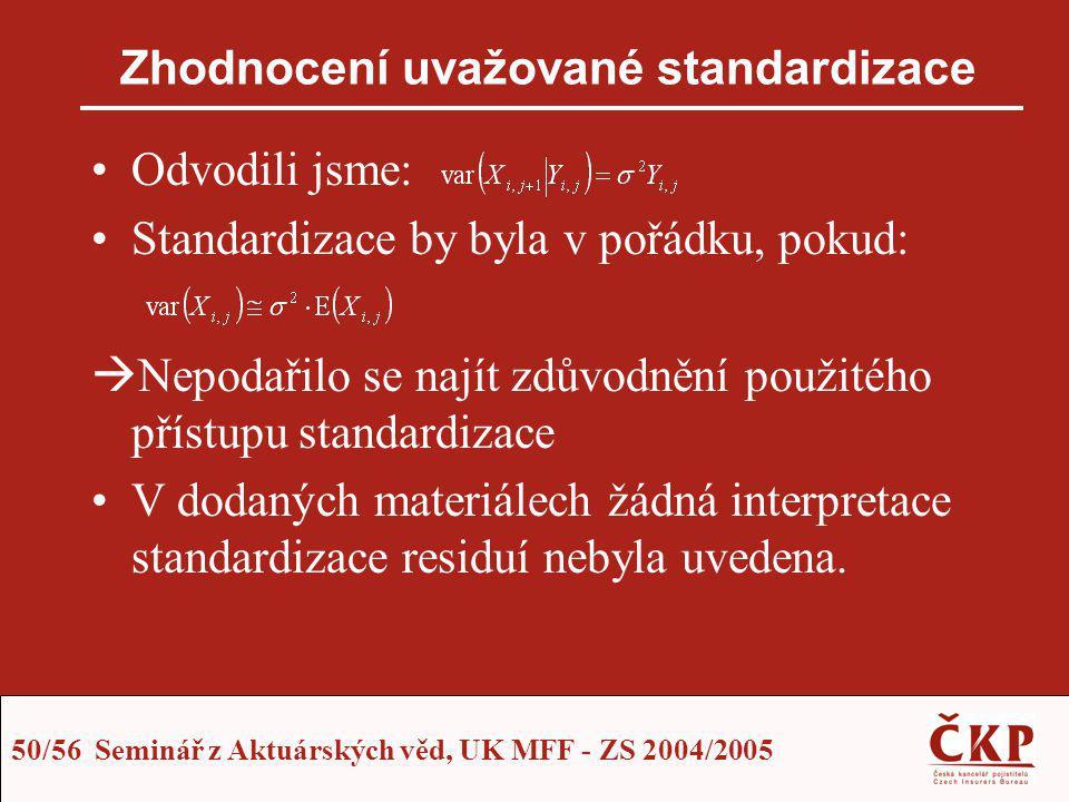 50/56 Seminář z Aktuárských věd, UK MFF - ZS 2004/2005 Zhodnocení uvažované standardizace Odvodili jsme: Standardizace by byla v pořádku, pokud:  Nep