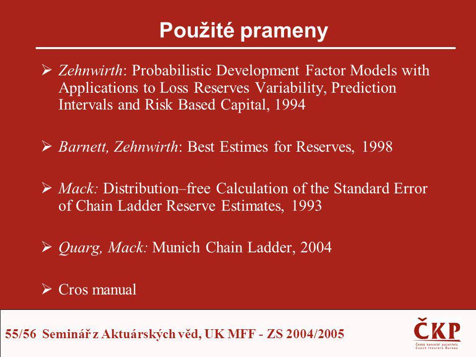 55/56 Seminář z Aktuárských věd, UK MFF - ZS 2004/2005 Použité prameny  Zehnwirth: Probabilistic Development Factor Models with Applications to Loss