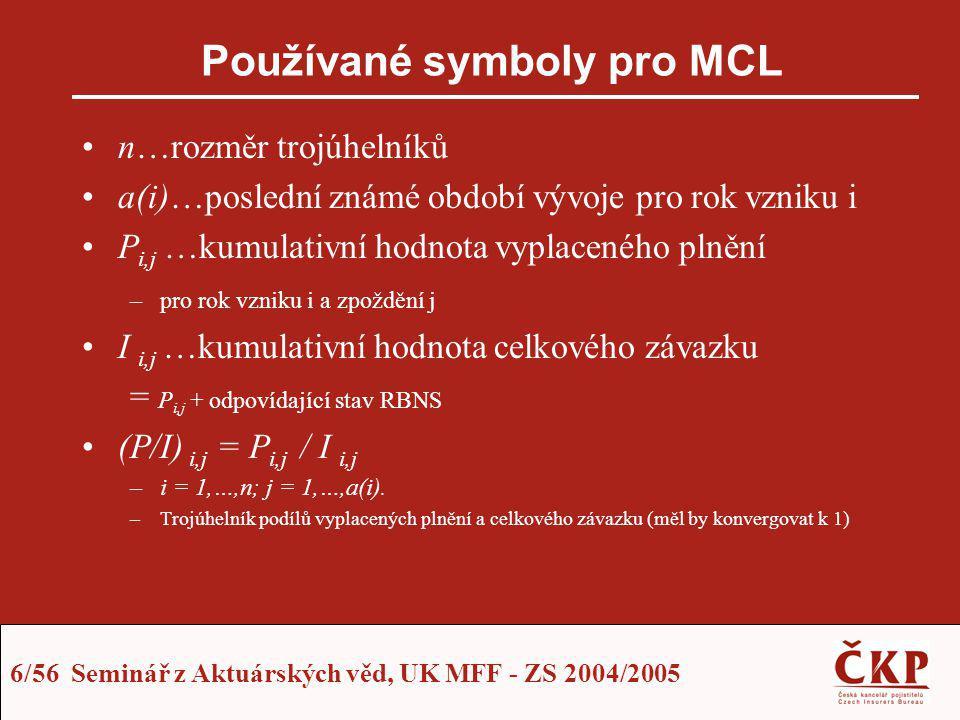 17/56 Seminář z Aktuárských věd, UK MFF - ZS 2004/2005 Korekce vývojového faktoru Z předchozího vyplývá: Poznámky –Vývojový faktor MCL je přirozeně určen jako korekce faktoru SCL –Postup odvození ukázán pro Paid trojúhelník –Analogické principy i pro Incurred trojúhelník: